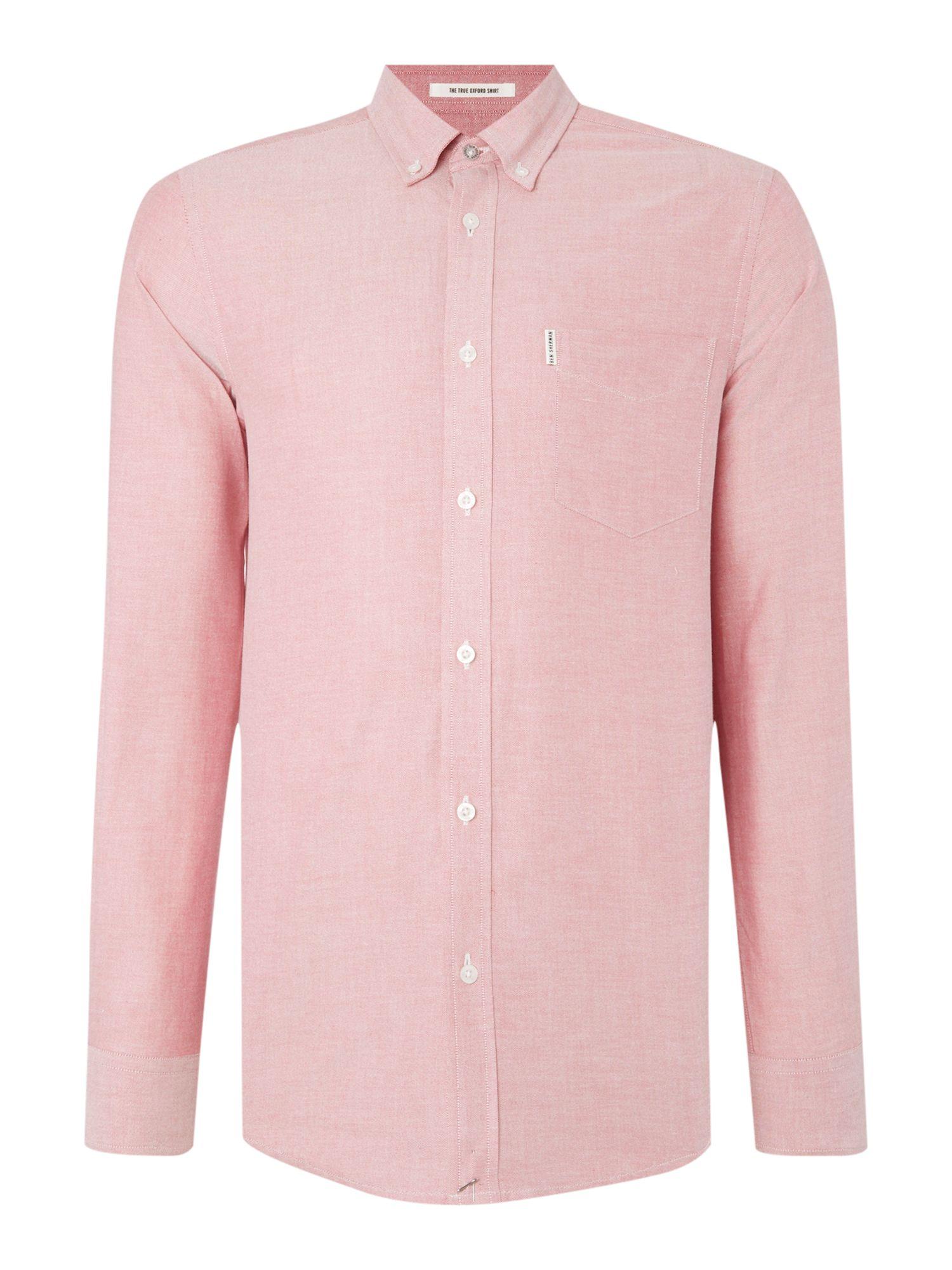 Ben sherman classic oxford long sleeve shirt in pink for for Mens pink long sleeve shirt