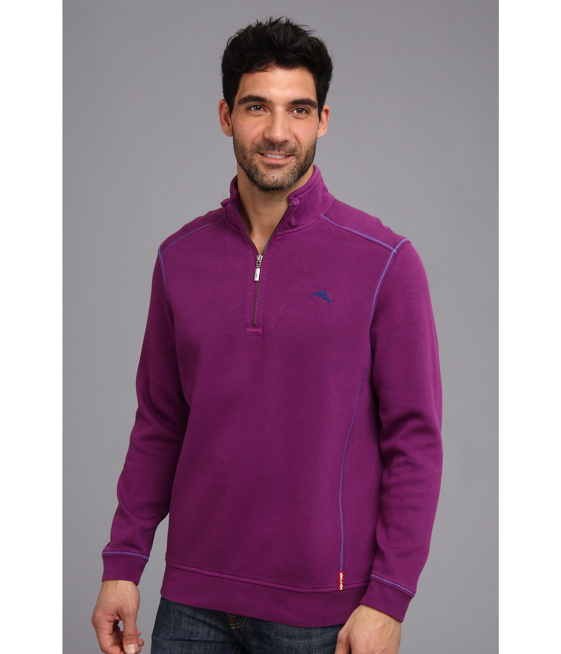 Tommy Bahama Antigua Half Zip Sweatshirt In Purple For Men