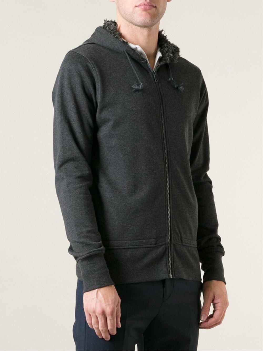 Y-3 Faux-Fur Lined Hoodie In Gray For Men Grey  Lyst-4793