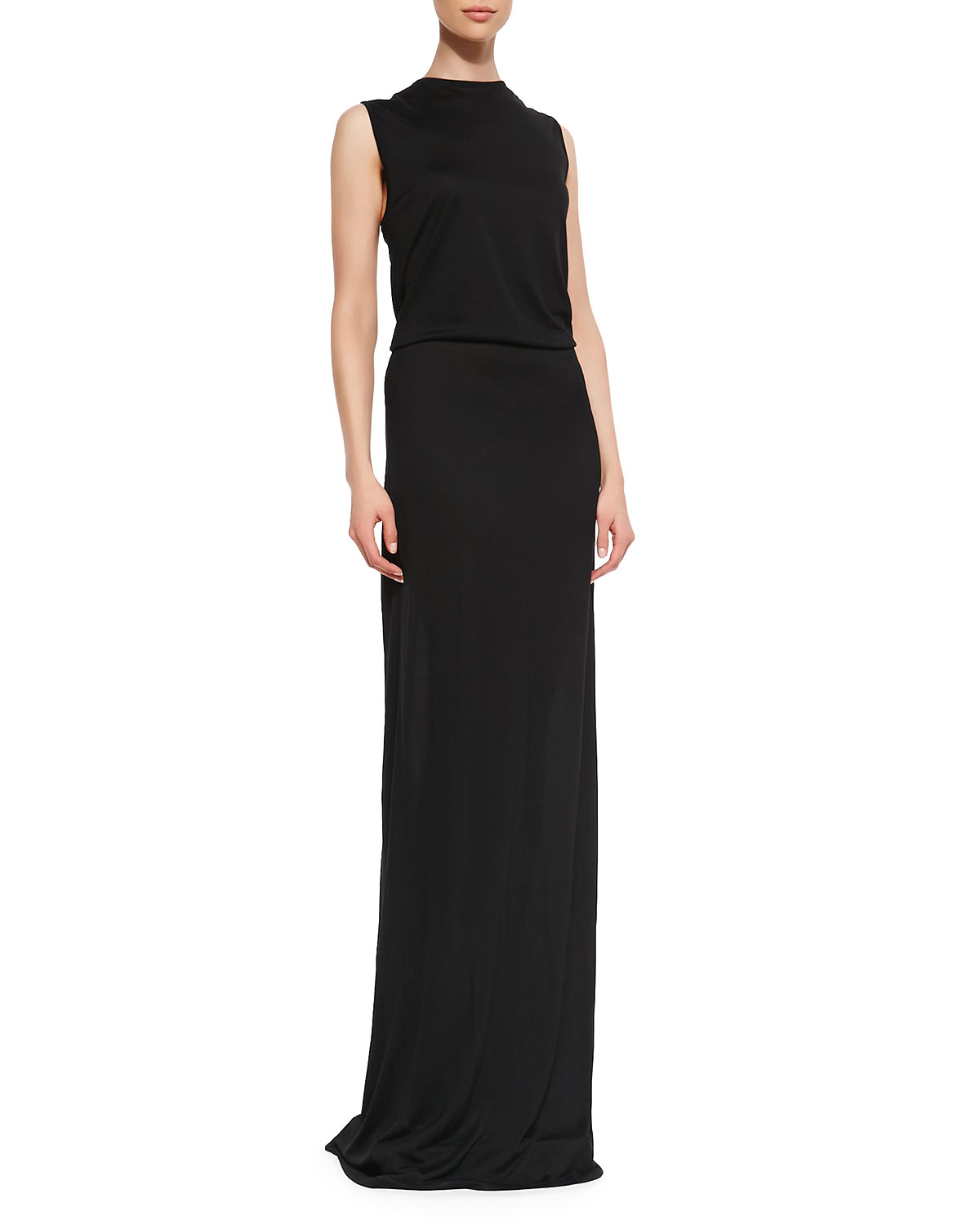 10 crosby derek lam knotted openback maxi dress in black for Derek lam 10 crosby shirt dress