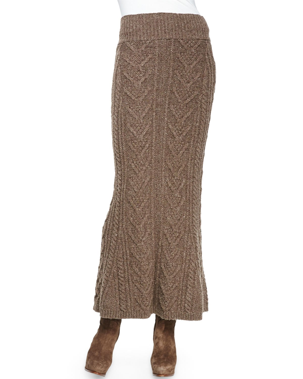 05fcea1e2 Ralph Lauren Collection Long Cable-Knit Cashmere Skirt in Brown - Lyst