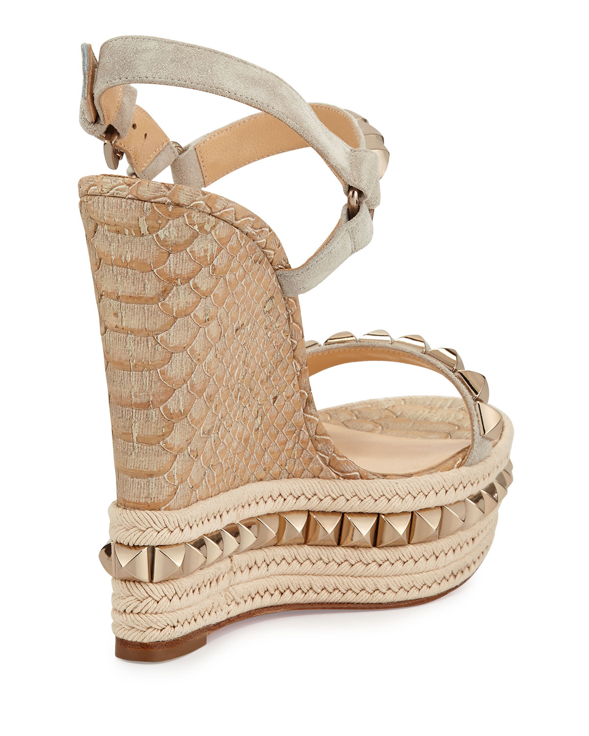 56687c4da936 ... best price lyst christian louboutin cataclou python embossed cork wedge  in brown 616e9 cd184