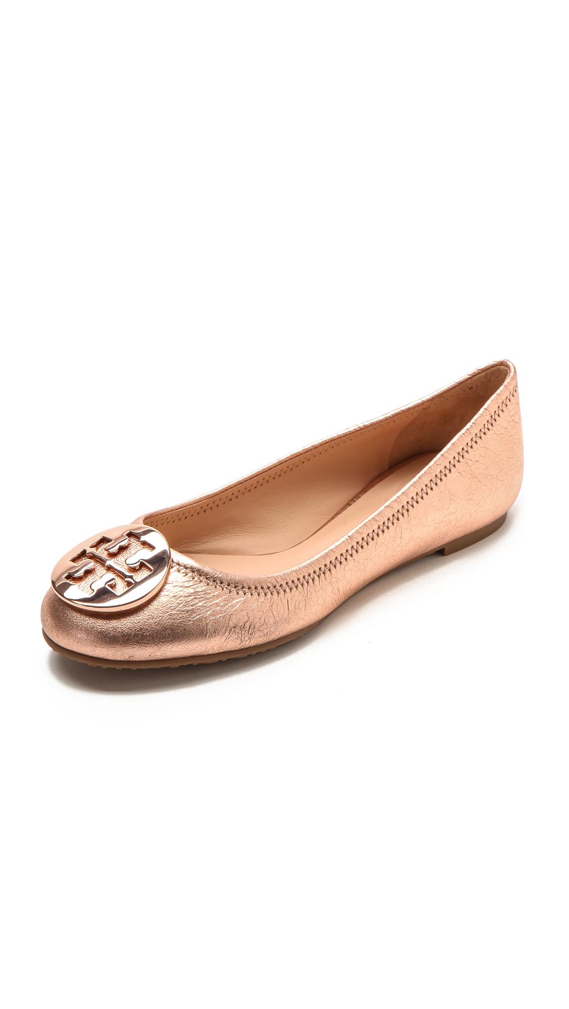 ec0f72cf8 ... hot lyst tory burch reva ballet flats rose gold in pink 19f00 aa805