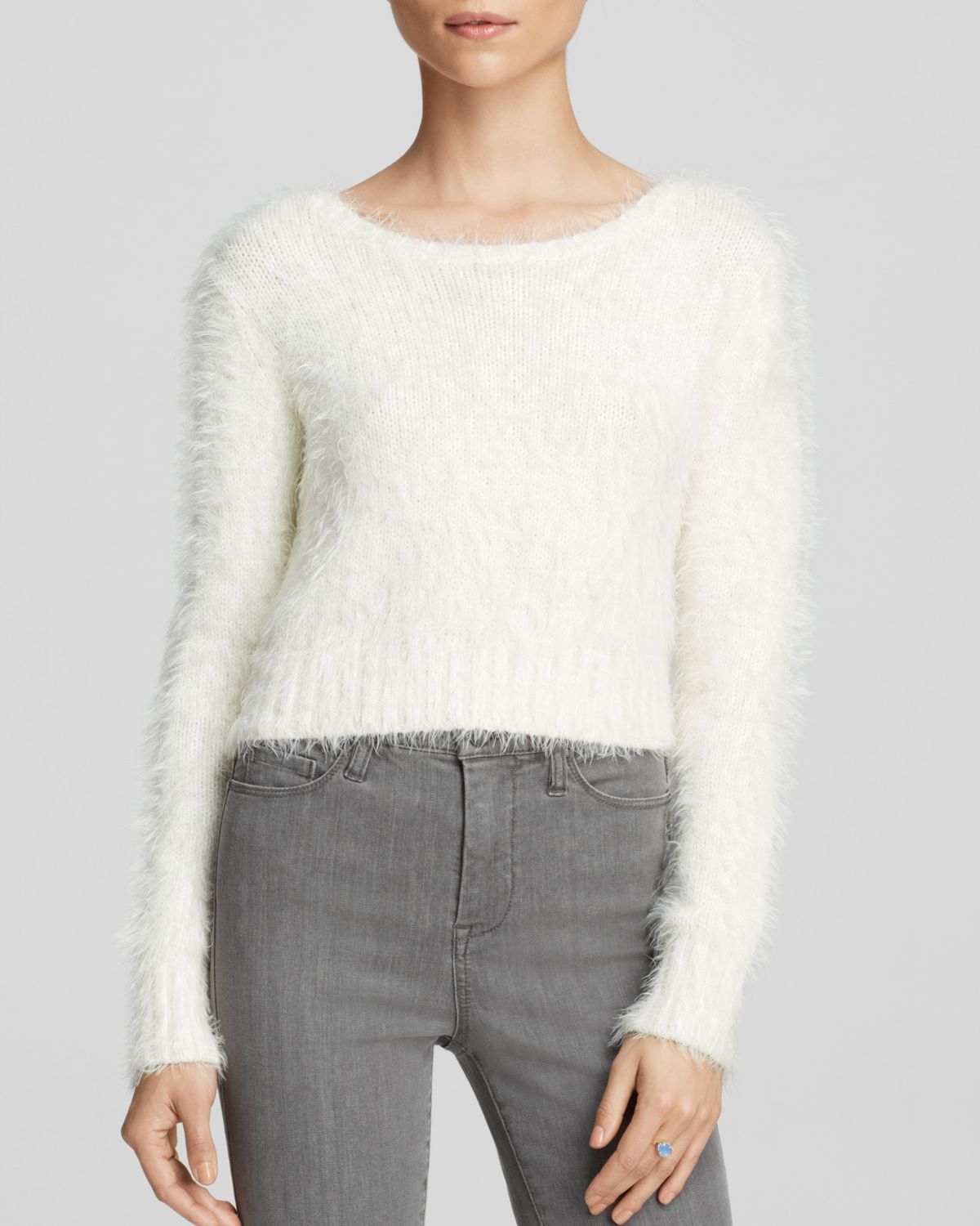 Glamorous Sweater - Bloomingdale's Exclusive Fuzzy Crop in White ...