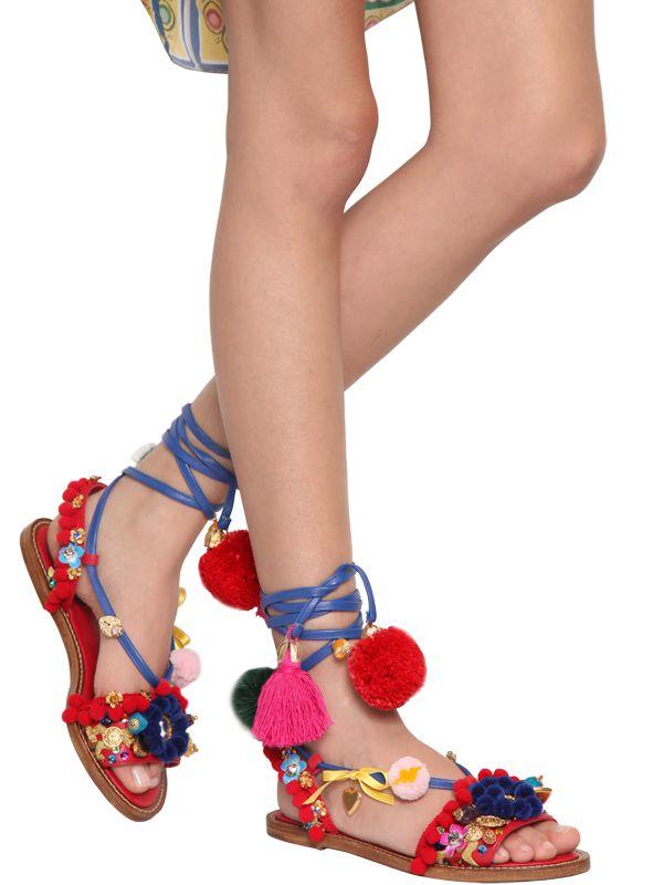 ddc00560f Dolce & Gabbana 20mm Pompom & Tassels Leather Sandals - Lyst