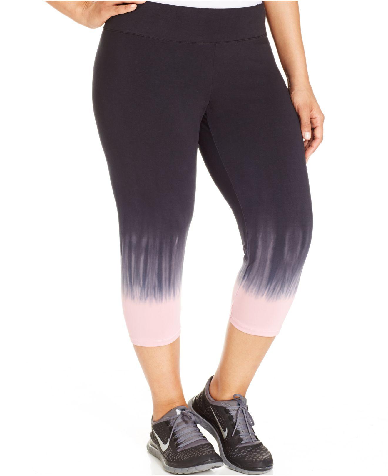fcecb4f66e5 Lyst - Calvin Klein Performance Plus Size Ombré Capri Leggings in Pink