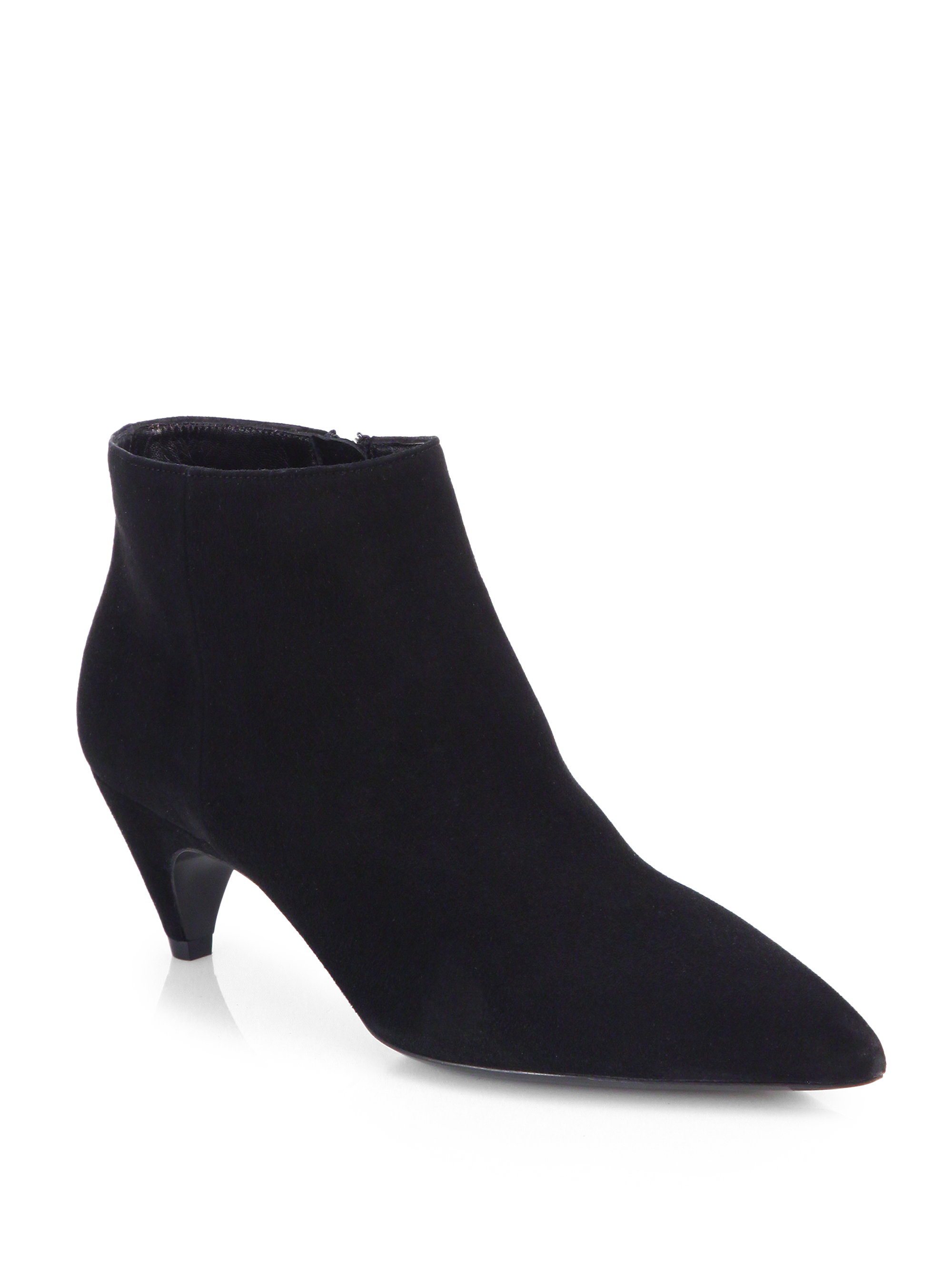 prada suede pointtoe ankle boots in black nero black lyst