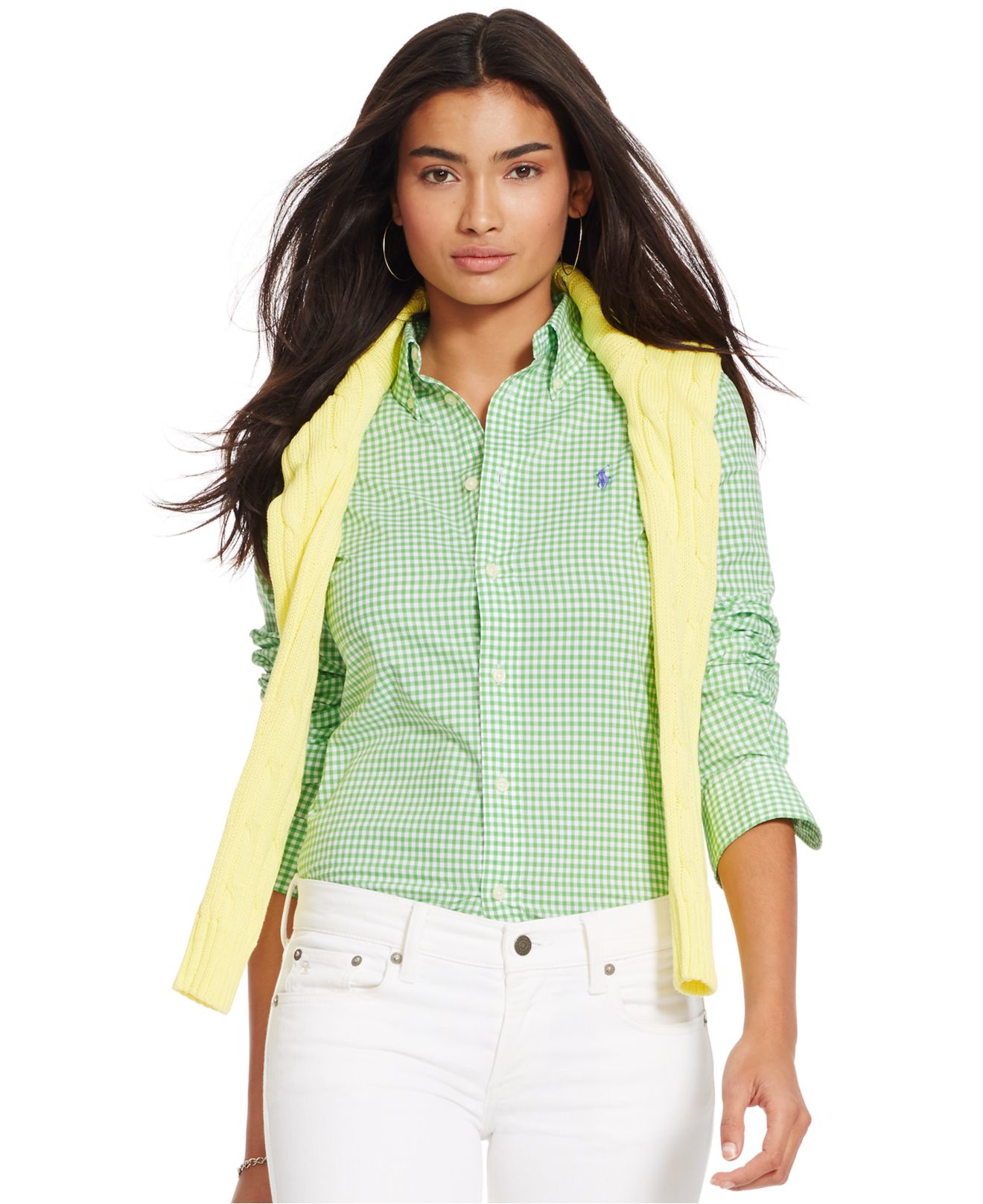 Lyst polo ralph lauren custom fit gingham shirt in green for Womens green checked shirt
