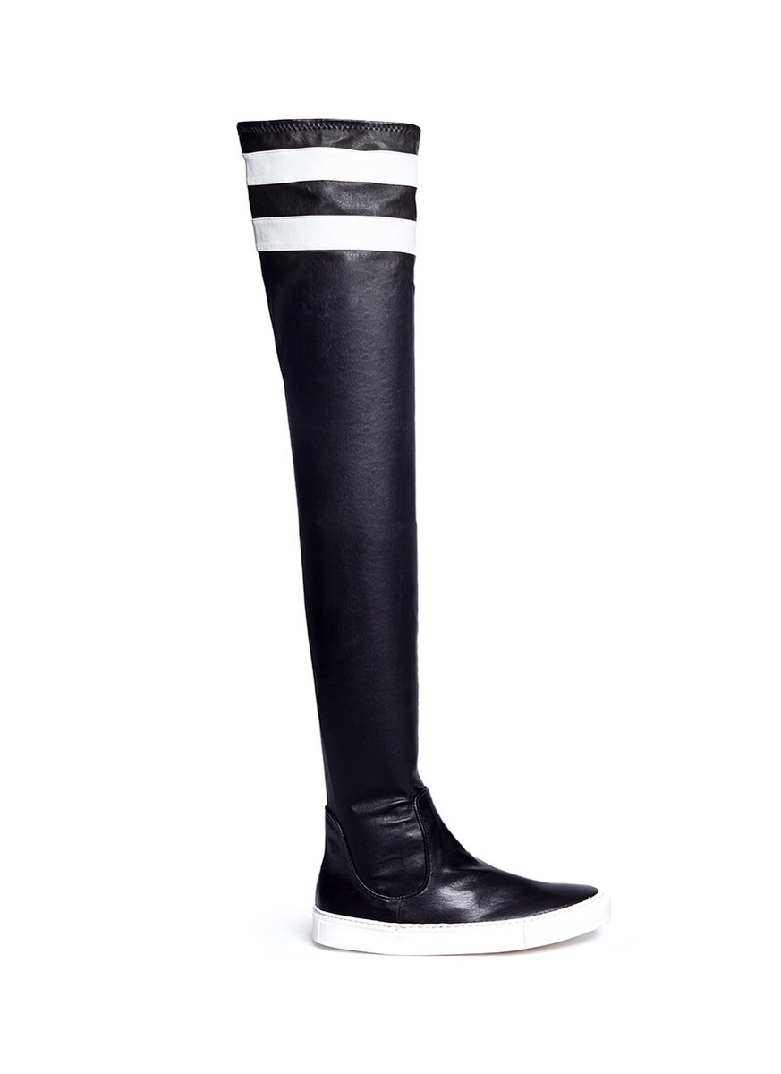 Eugene riconneaus 'e-high' Stripe Leather Thigh High Sneaker Boots ...