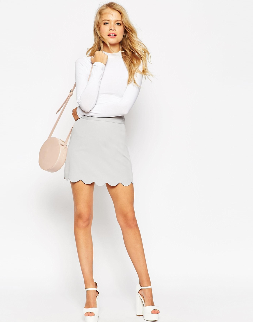 3493cebce9 ASOS A-line Mini Skirt With Scallop Hem in Metallic - Lyst
