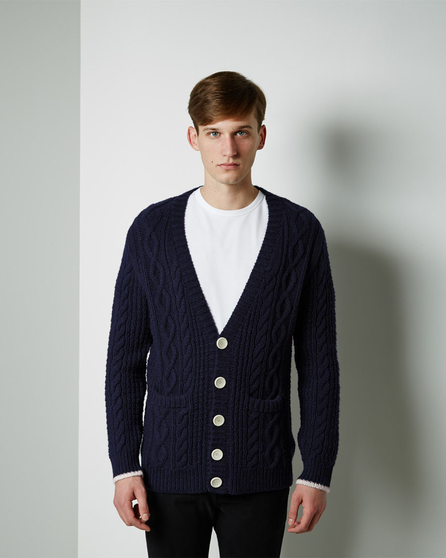 Band of outsiders Cable Knit Cardigan in Blue | Lyst