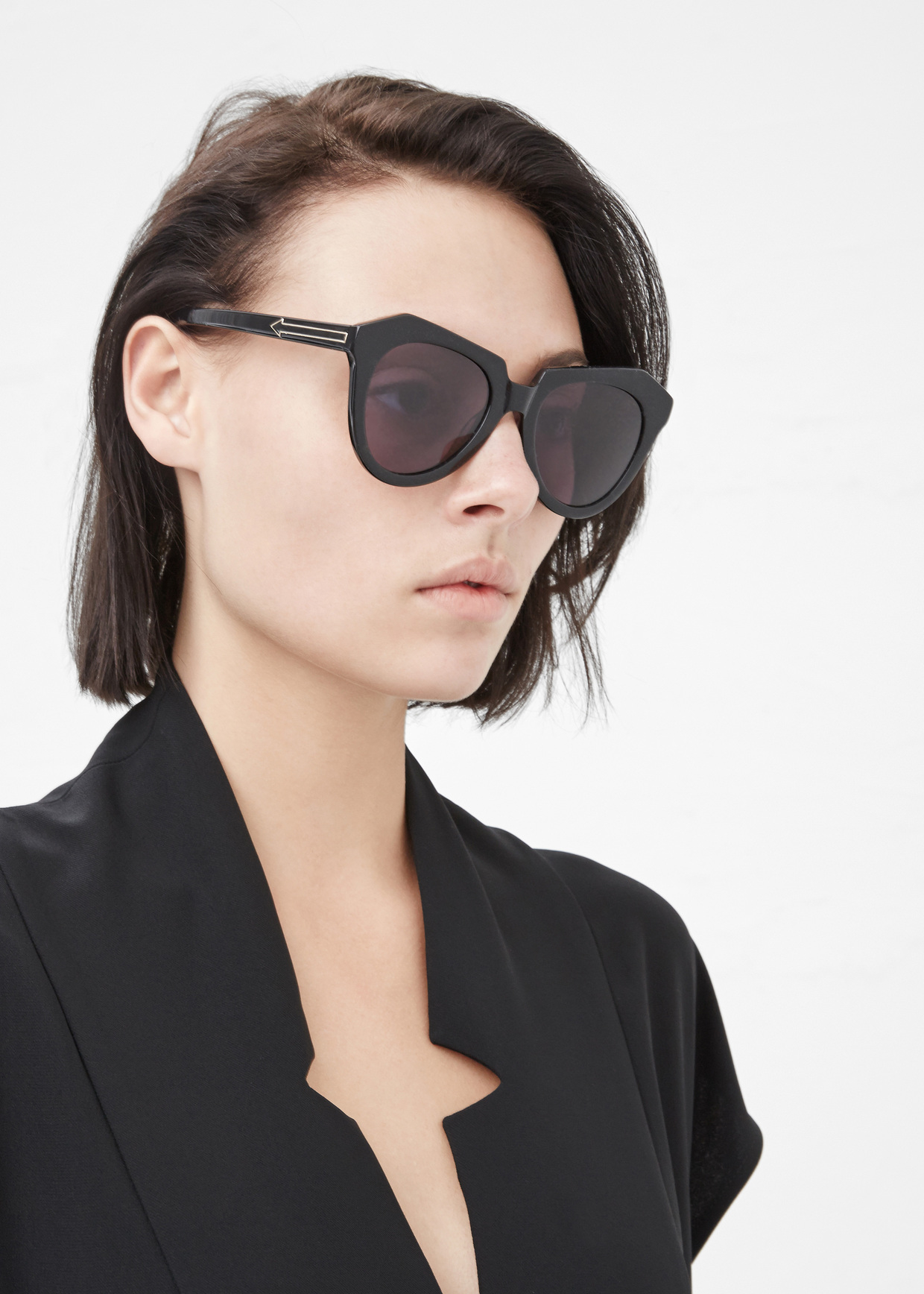 b9dfb65c78ec Karen Walker Black Number One Sunglasses in Black - Lyst