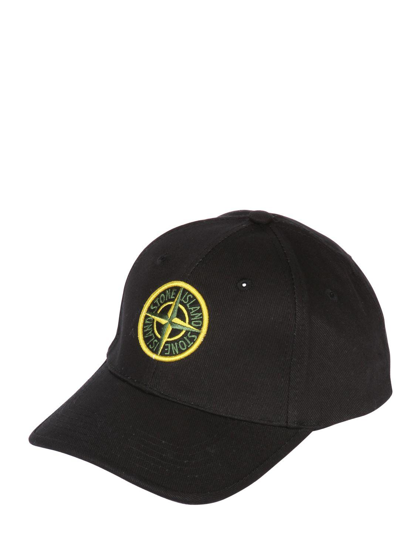 Lyst - Stone Island Cotton Canvas Baseball Hat in Black for Men 9d4270f19bca