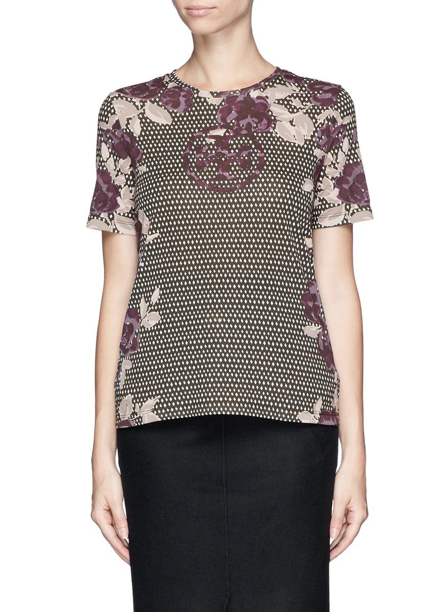 Lyst Tory Burch 39 Maci 39 Logo Floral Diamond Print T Shirt
