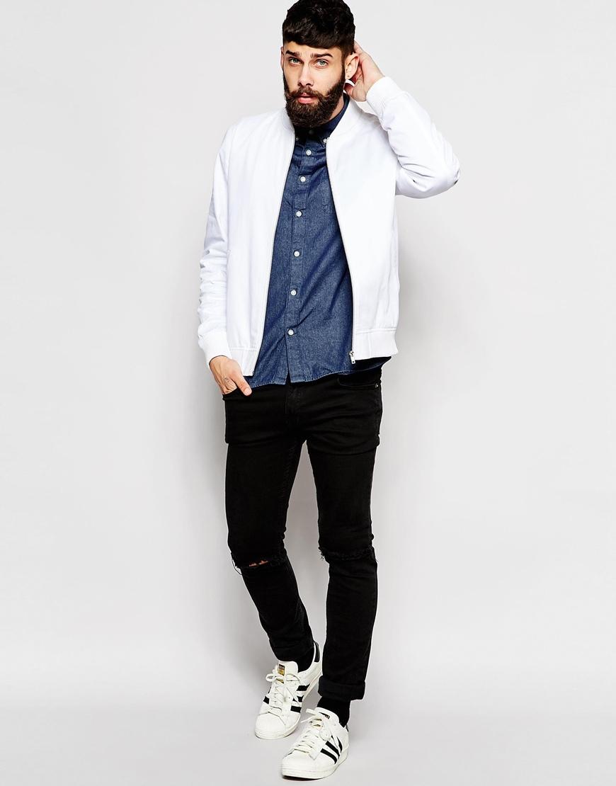 Asos Bomber Jacket In White in White for Men | Lyst