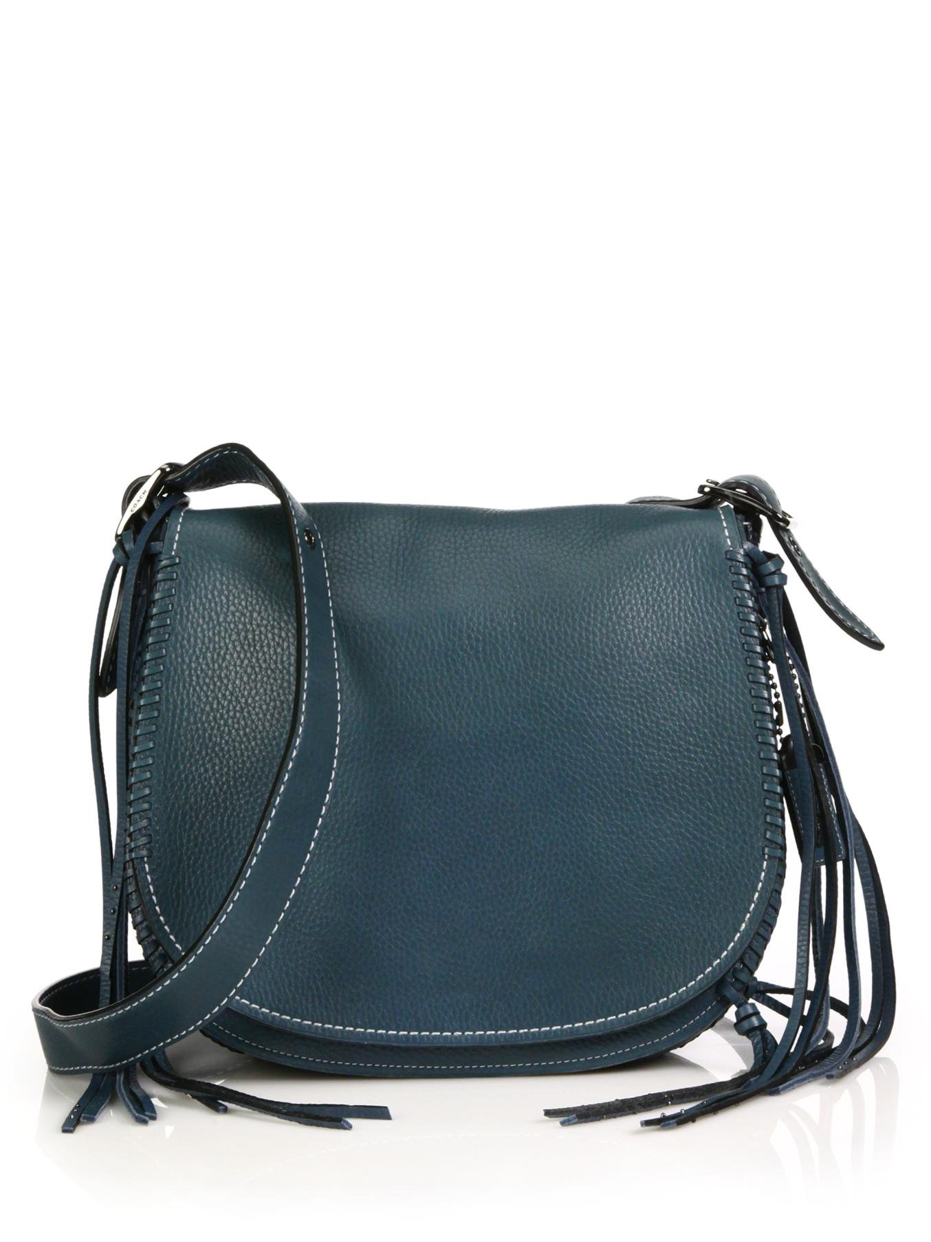 3e92ac89526f ... backpack 48d1f c5211 clearance lyst coach whipstitched leather saddle  bag in blue b21fd d63bf ...