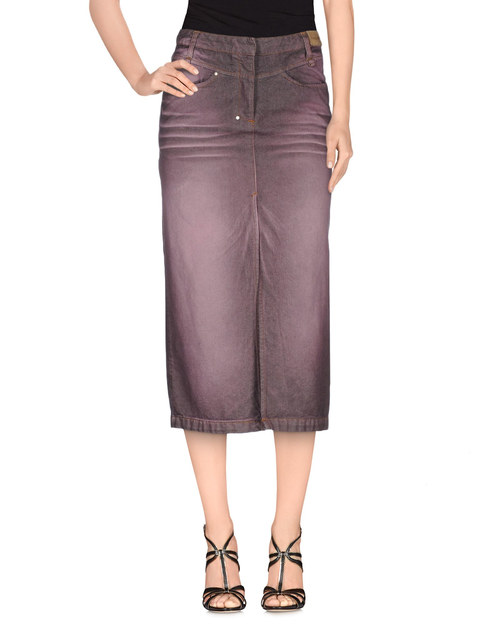patrizia pepe denim skirt in purple lyst