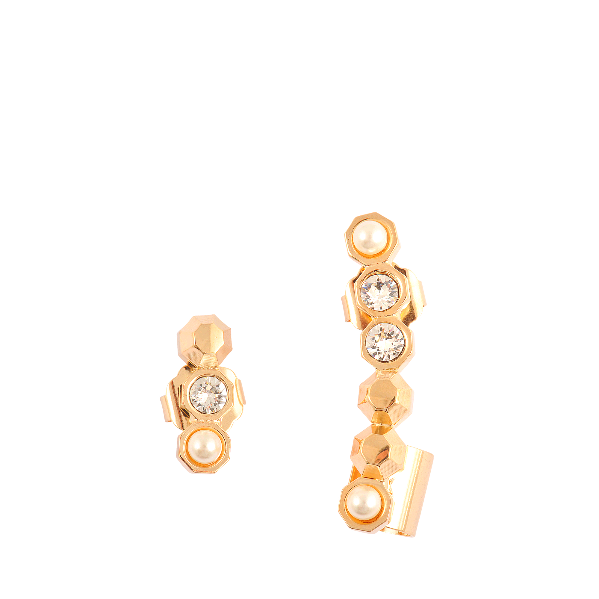 flower jewellery outline oliver asymmetric drop plated bonas earrings gold