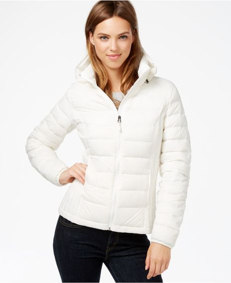 32 Degrees Hooded Packable Down Puffer Jacket In White