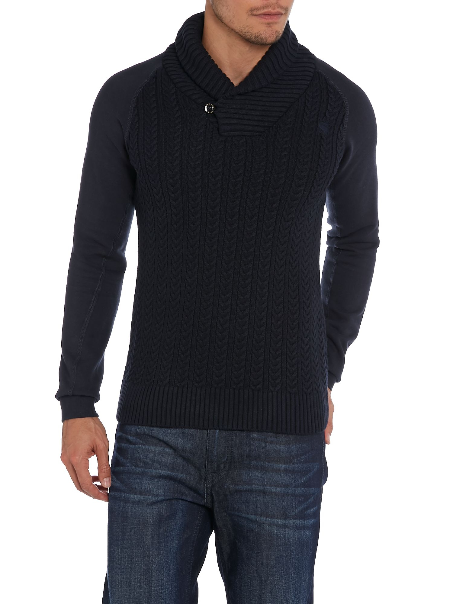 g star raw shawl collar cable knit jumper in blue for men lyst. Black Bedroom Furniture Sets. Home Design Ideas
