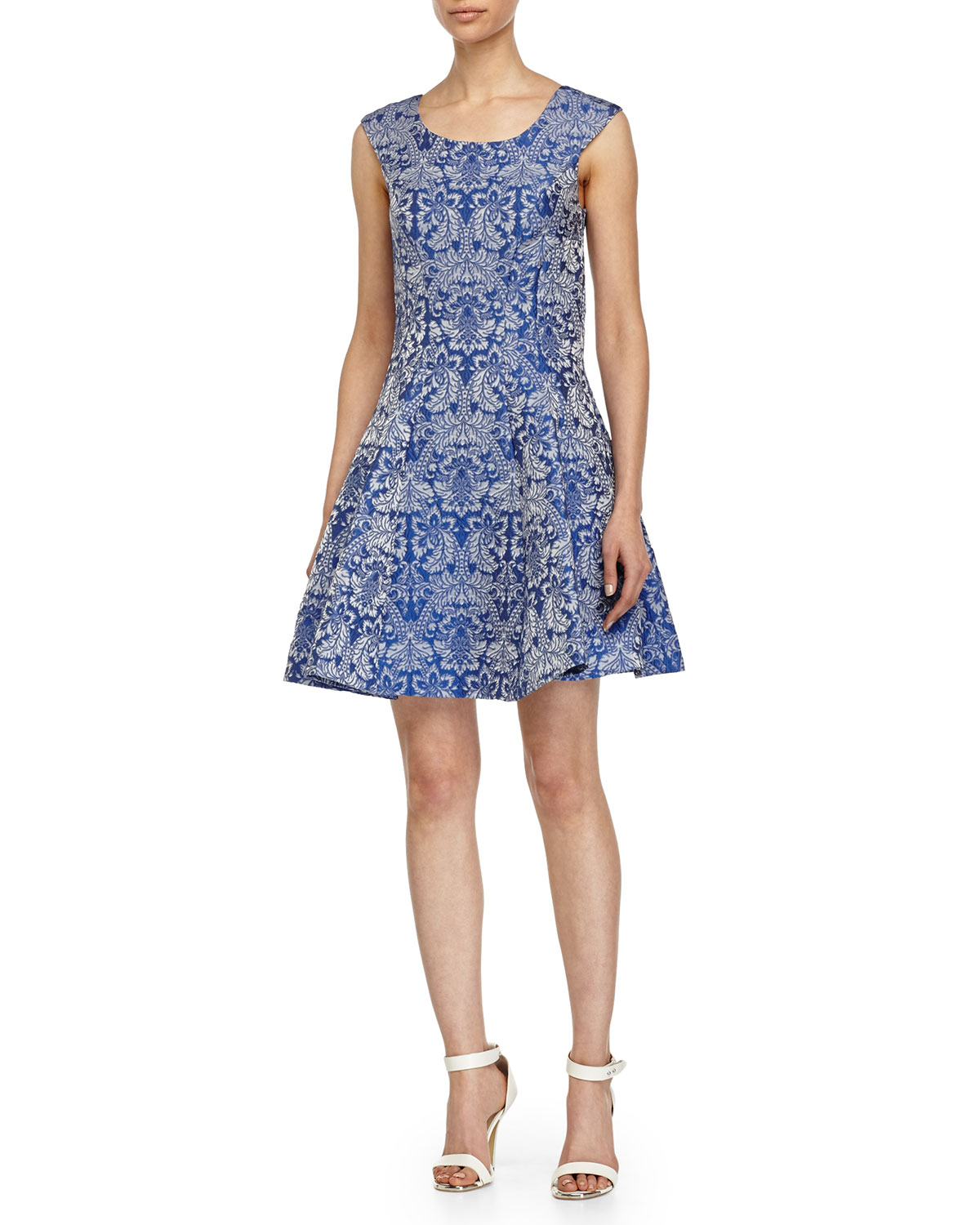 a07fa9ec8d9d Lyst - Betsey Johnson Baroque-Print Fit-And-Flare Dress in Blue