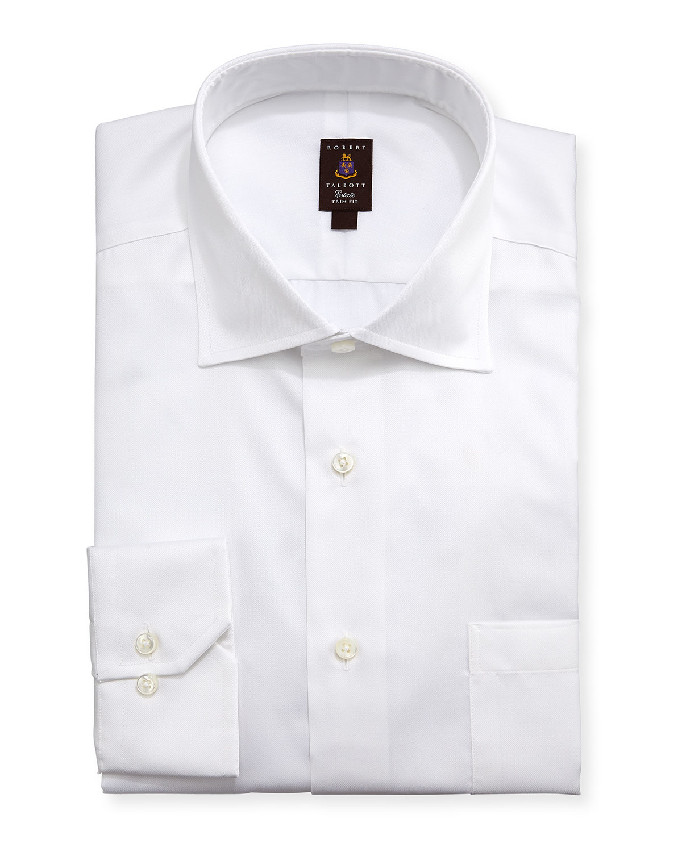 Robert talbott micro pique trim fit dress shirt in white for Robert talbott shirts sale