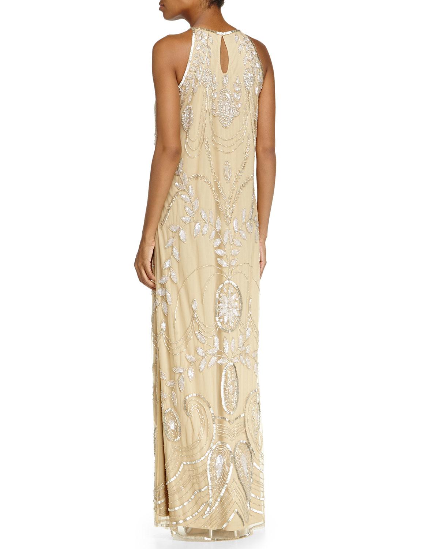 badgley mischka sleeveless halter beaded gown in gold