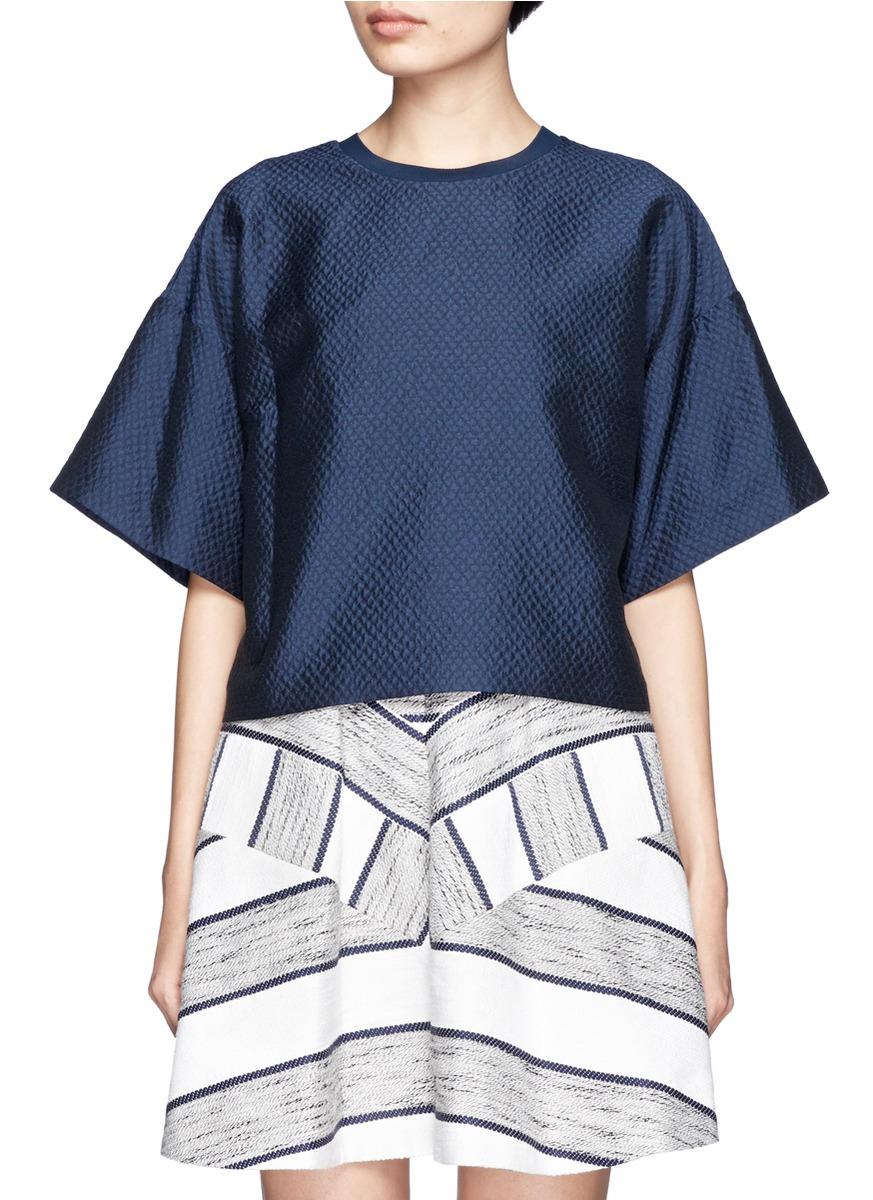 e3e0a1031667d4 Lyst - 3.1 Phillip Lim Drop Shoulder Short-sleeve Cotton-blend ...