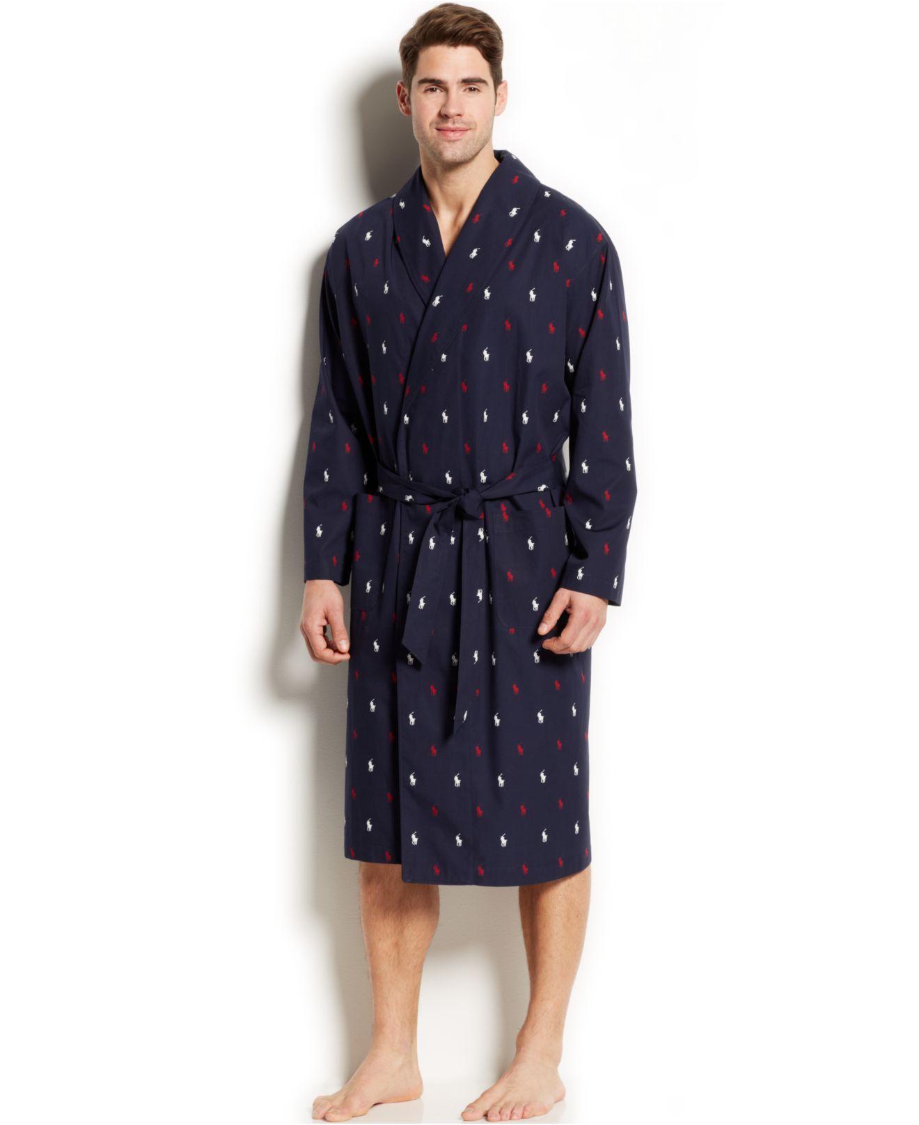 lyst polo ralph lauren allover pony robe in blue for men. Black Bedroom Furniture Sets. Home Design Ideas