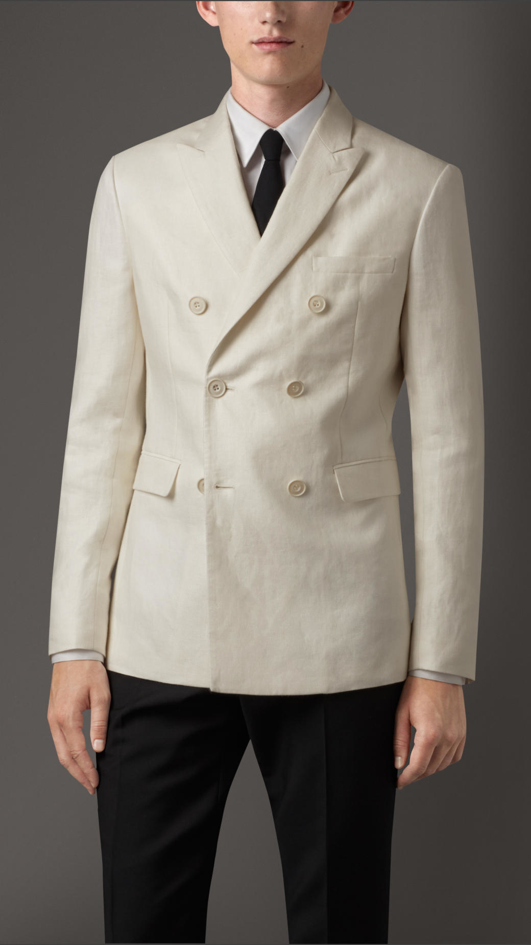Burberry Slim Fit Double-breasted Linen Jacket in Natural for Men ...