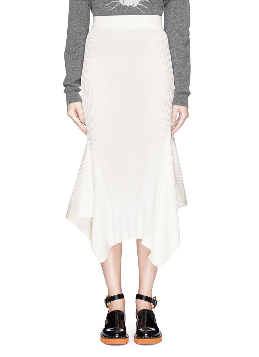 stella mccartney flounce asymmetric hem knit midi skirt in