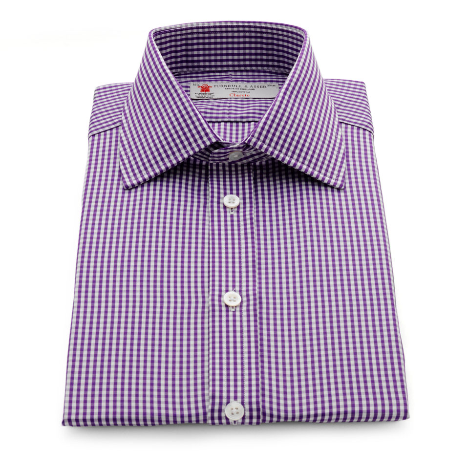 Turnbull asser purple gingham check shirt with classic t for Men s purple gingham shirt