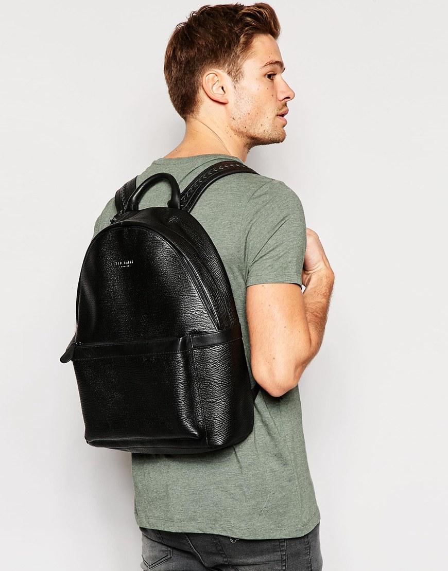ted baker heyriko leather backpack in black lyst. Black Bedroom Furniture Sets. Home Design Ideas