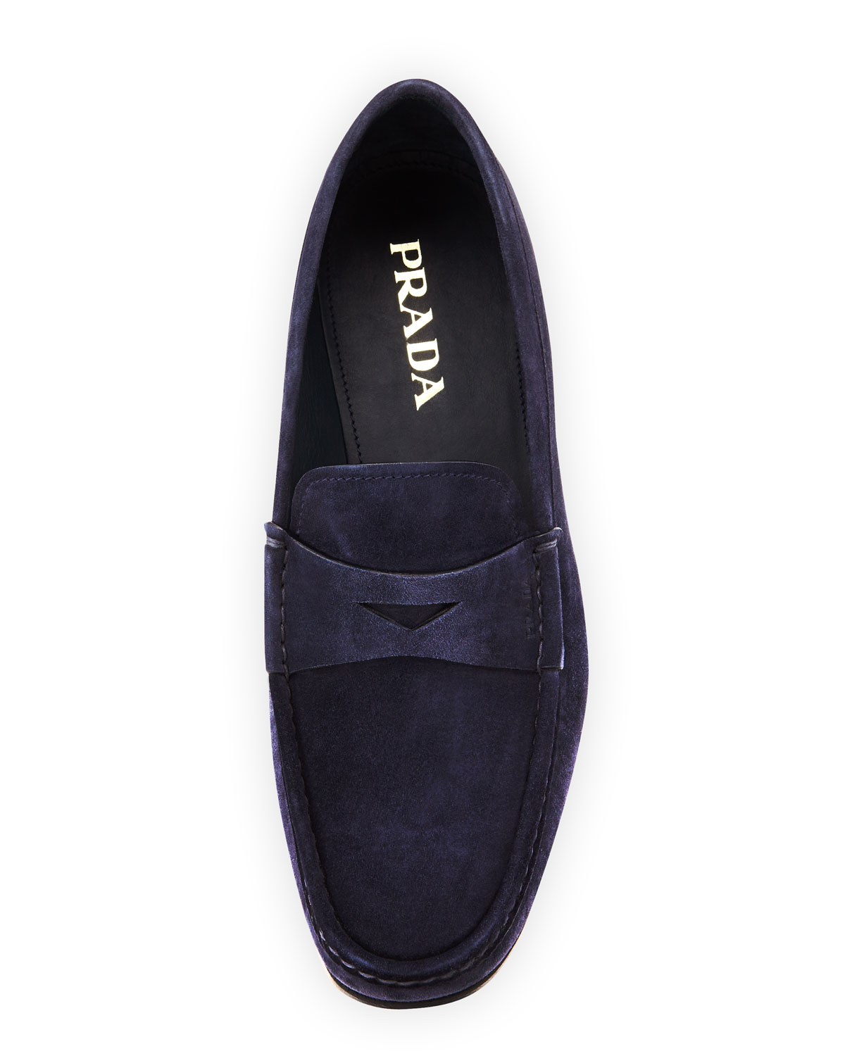 74bcc65e8f25 Prada Suede Penny Loafer in Blue for Men - Lyst