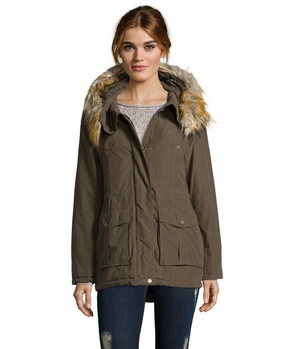 Lyst Dkny Olive Green Water Resistant Faux Fur Trim Hooded Anorak In Green