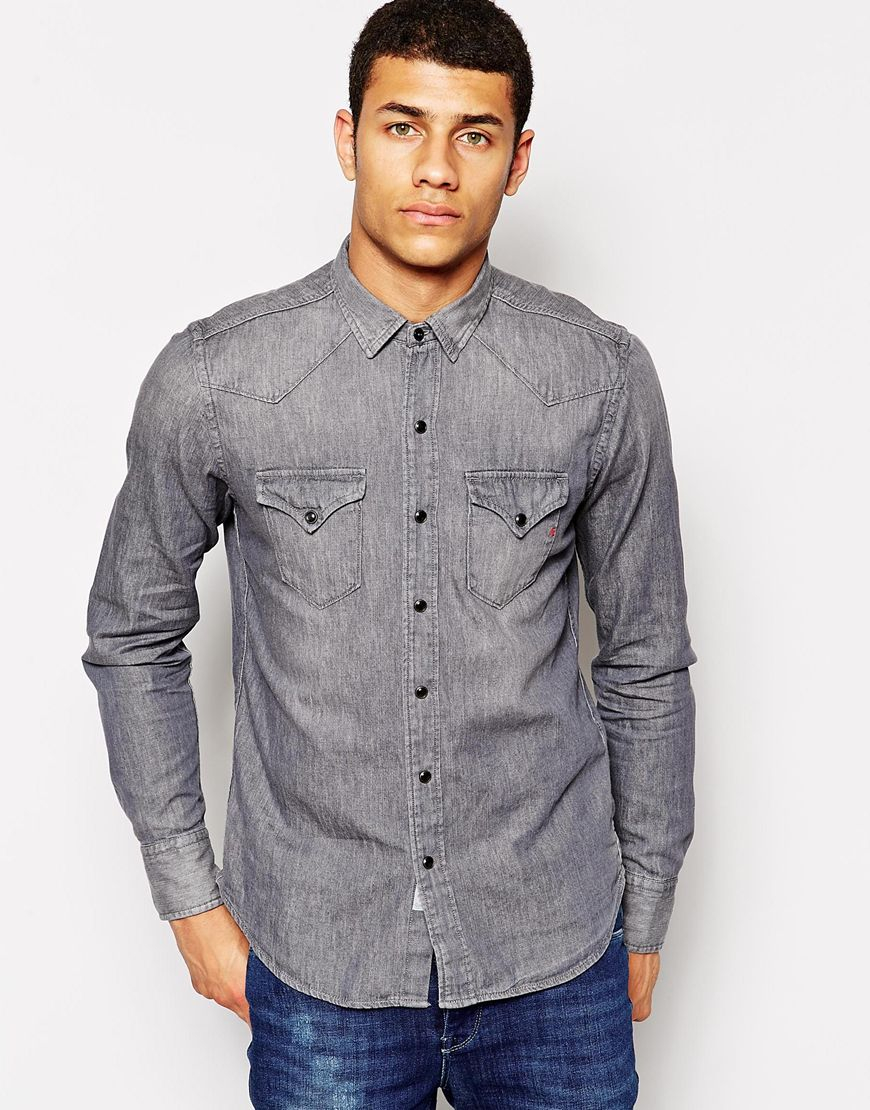 lyst replay denim shirt western gray washed out in gray