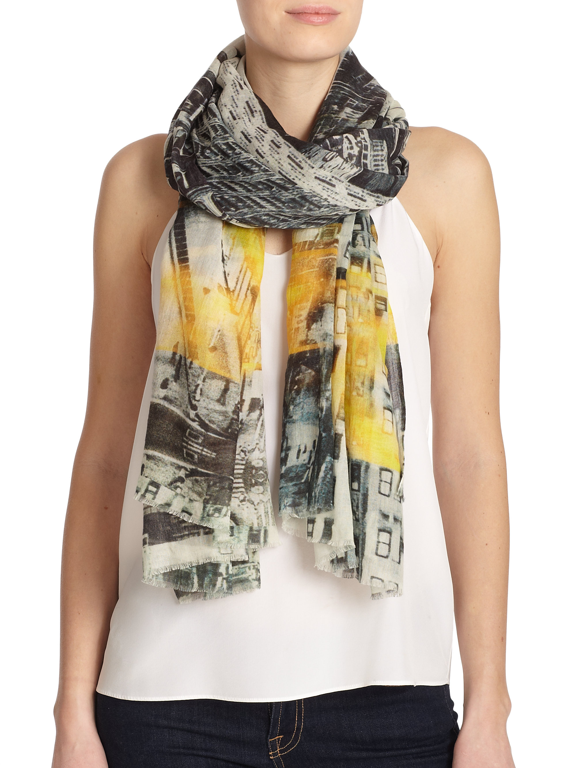 tilo new york printed cotton modal scarf lyst