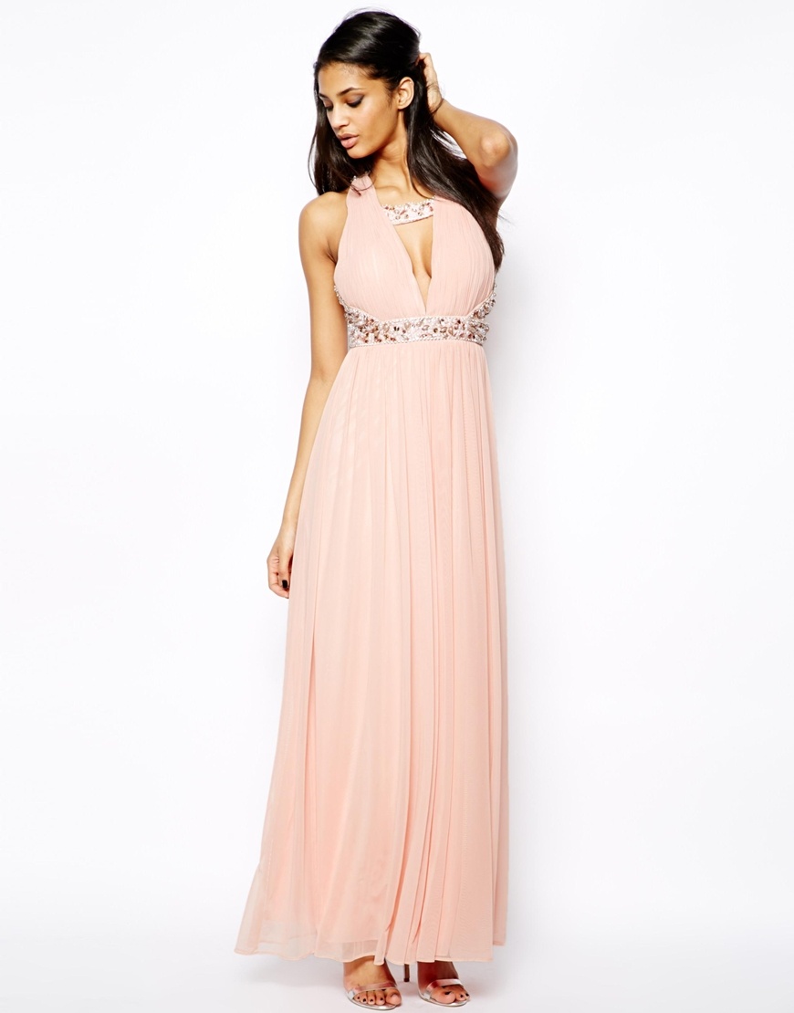 Forever unique Plunge Neck Maxi Dress with Embellished Necklace in ...