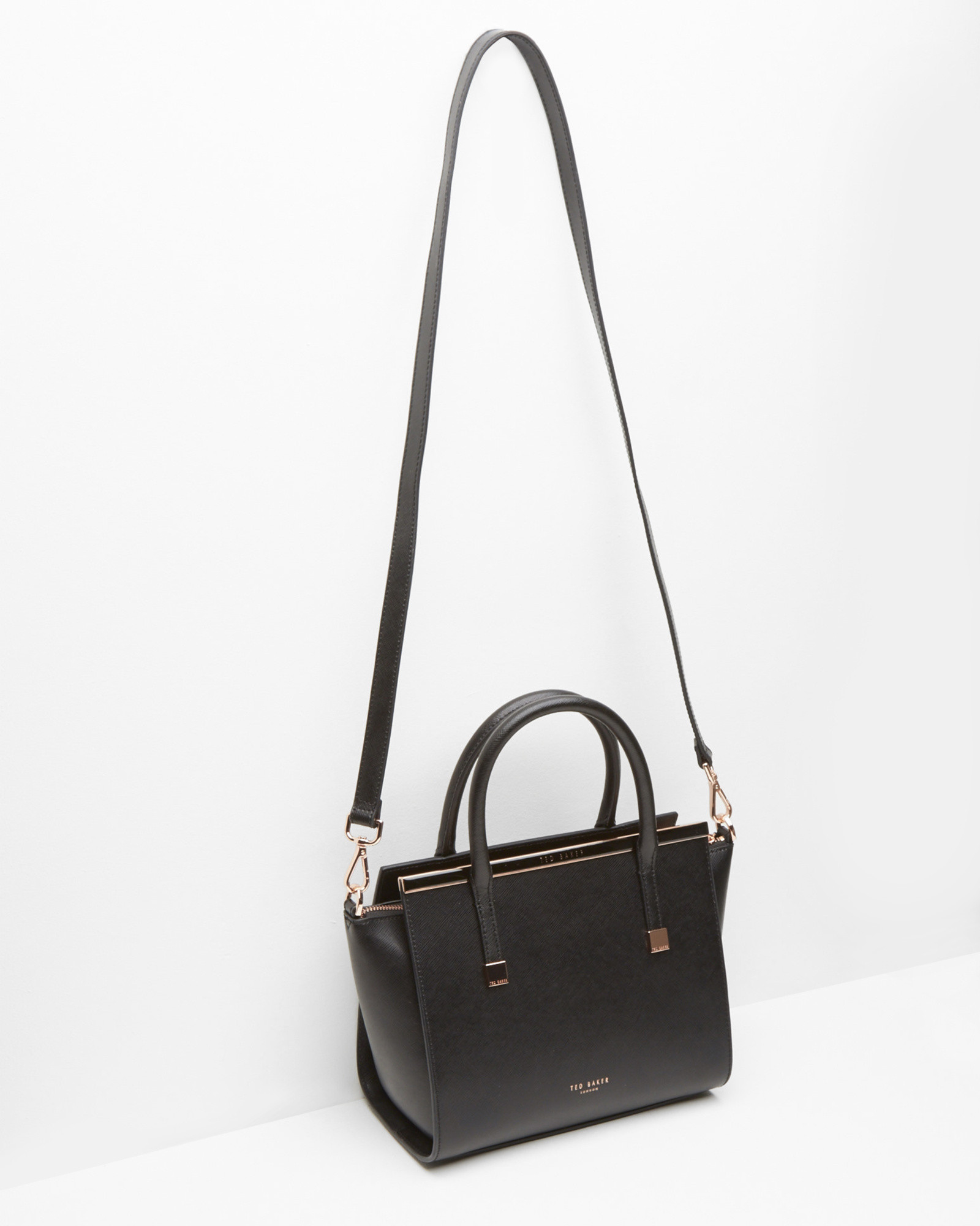 a8ddc994509 Ted Baker Crosshatch Leather Tote Bag in Black - Lyst