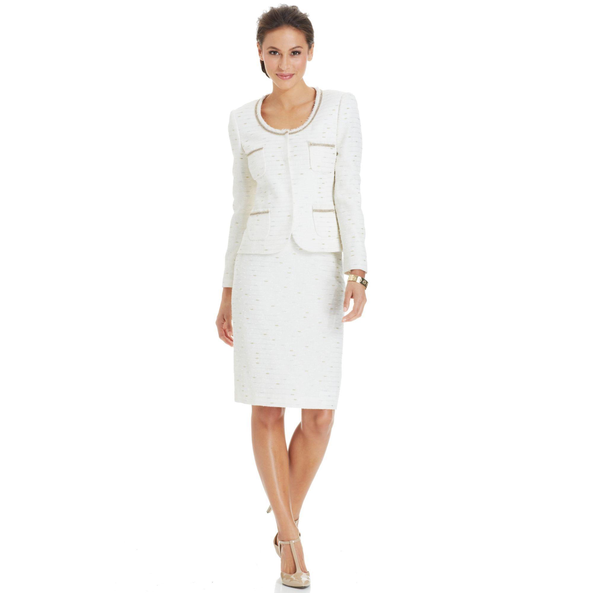 d67b9894d0b0 Tahari Collarless Metallictrim Skirt Suit in White - Lyst