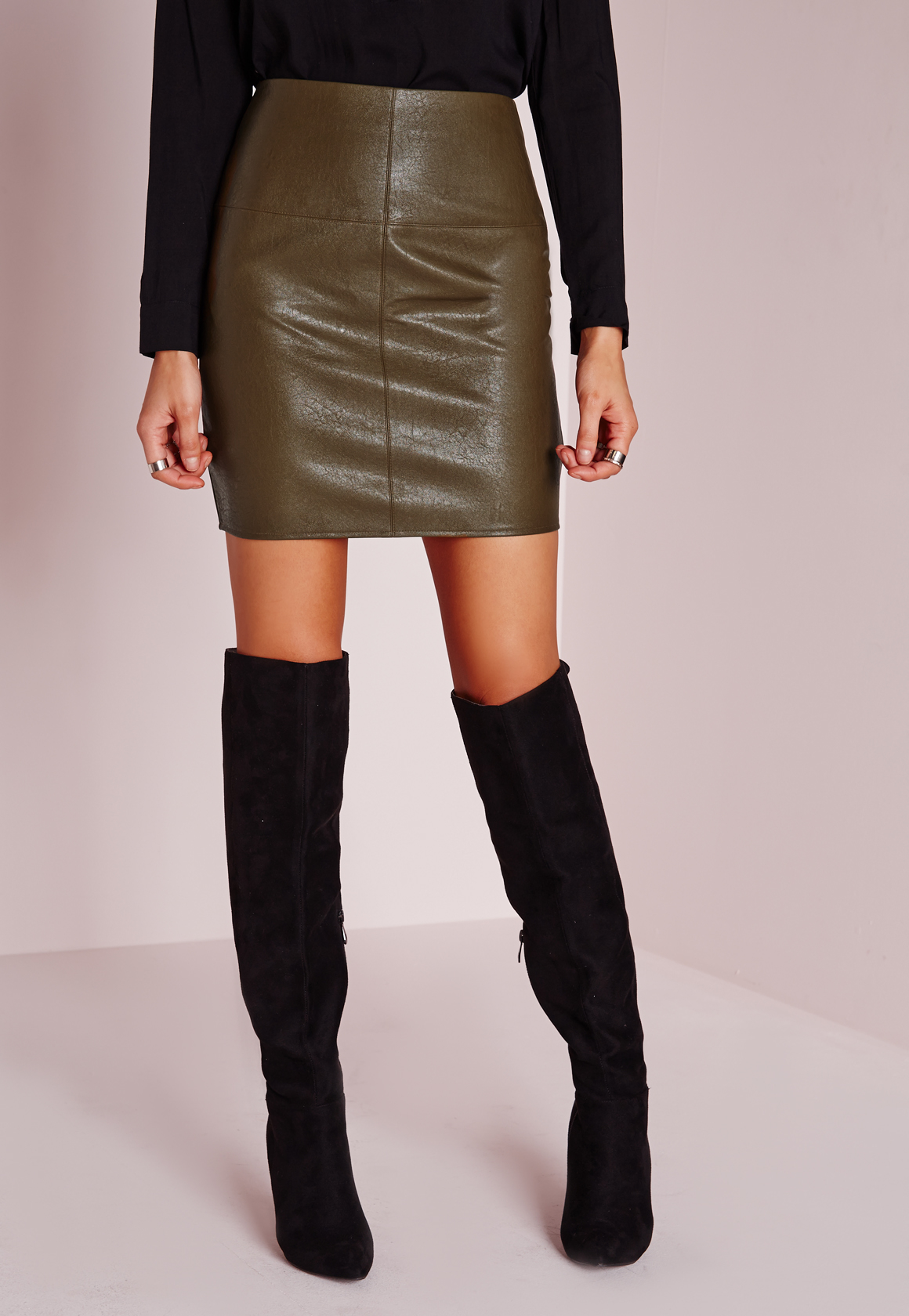missguided faux leather mini skirt green in brown lyst
