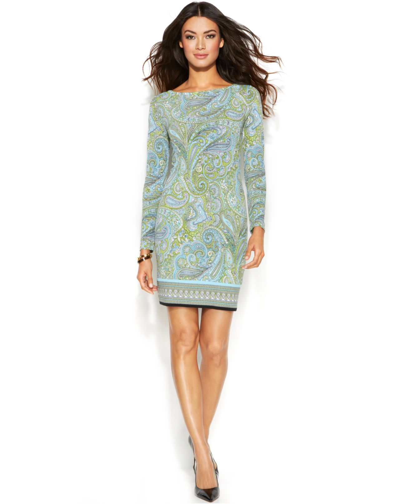 Michael kors Michael Petite Pear Paisley Shift Dress in Green | Lyst