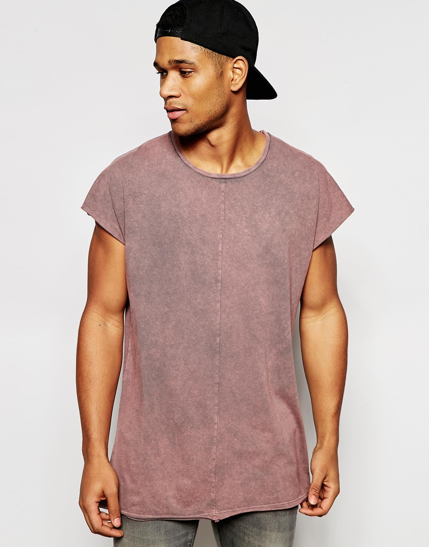 6d130068 ASOS Oversized Longline Sleeveless T-shirt With Acid Wash And Raw Seam  Detail in Pink for Men - Lyst