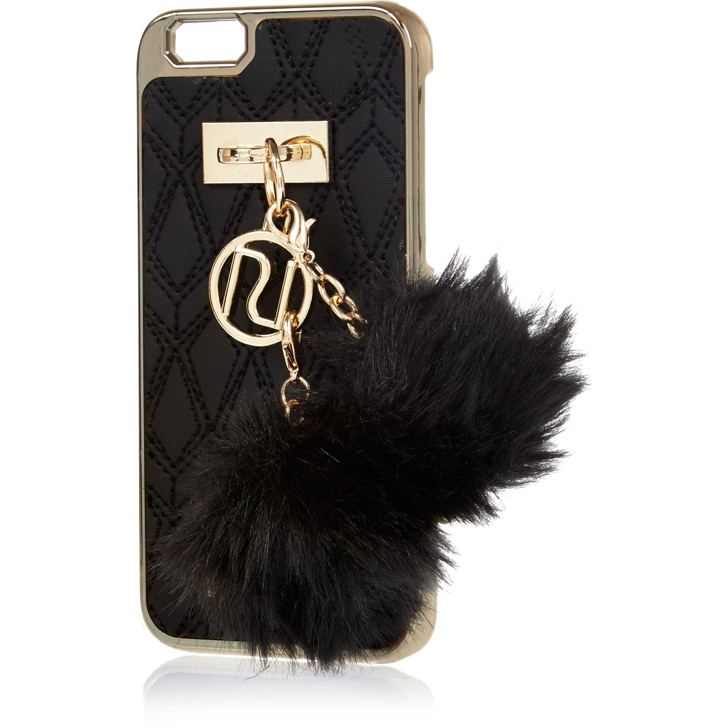 River Island Black Quilted Pom Pom Iphone 6 Case in Black for Men - Lyst 59d4eb6e1