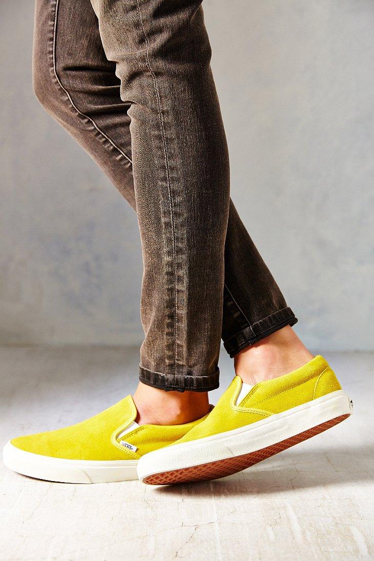 368324bb6c Lyst - Vans Classic Suede Slip-On Sneaker in Yellow