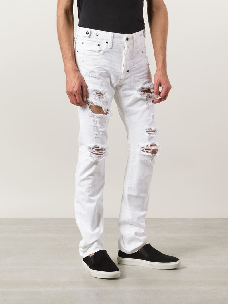 Prps 'Demon' Distressed Jeans in White for Men | Lyst