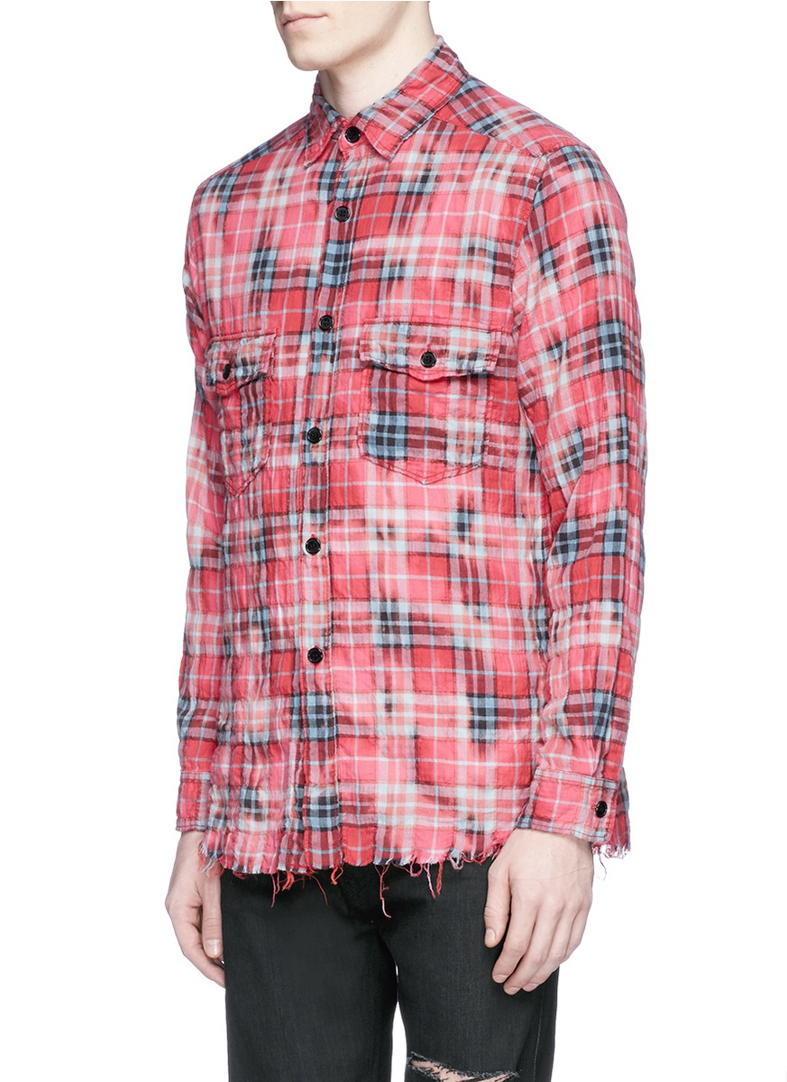 Lyst saint laurent check distressed flannel shirt in red for How to make a distressed shirt