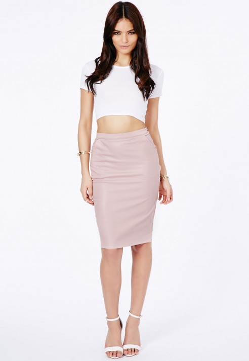 Missguided Mariota Faux Leather Pencil Skirt In Dusky Pink in Pink ...