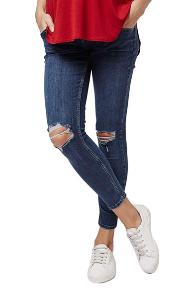 Topshop 'jamie' Ripped Crop Skinny Maternity Jeans in Blue | Lyst