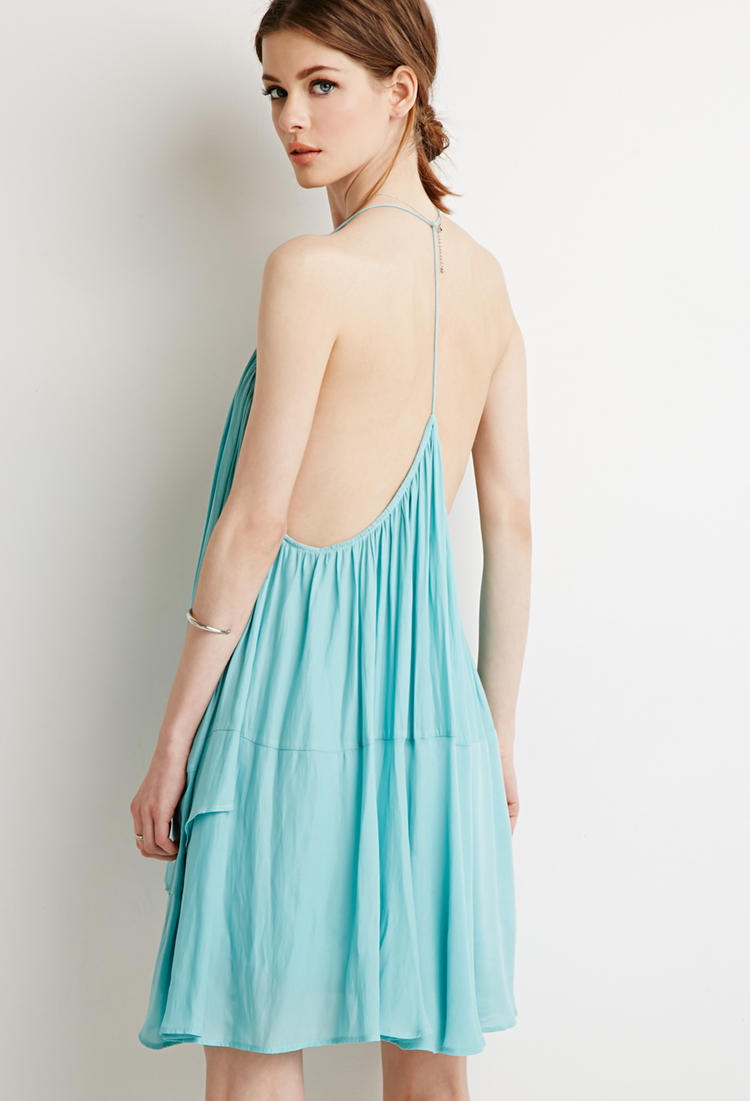 Lyst Forever 21 Contemporary Chiffon Trapeze Dress In Blue
